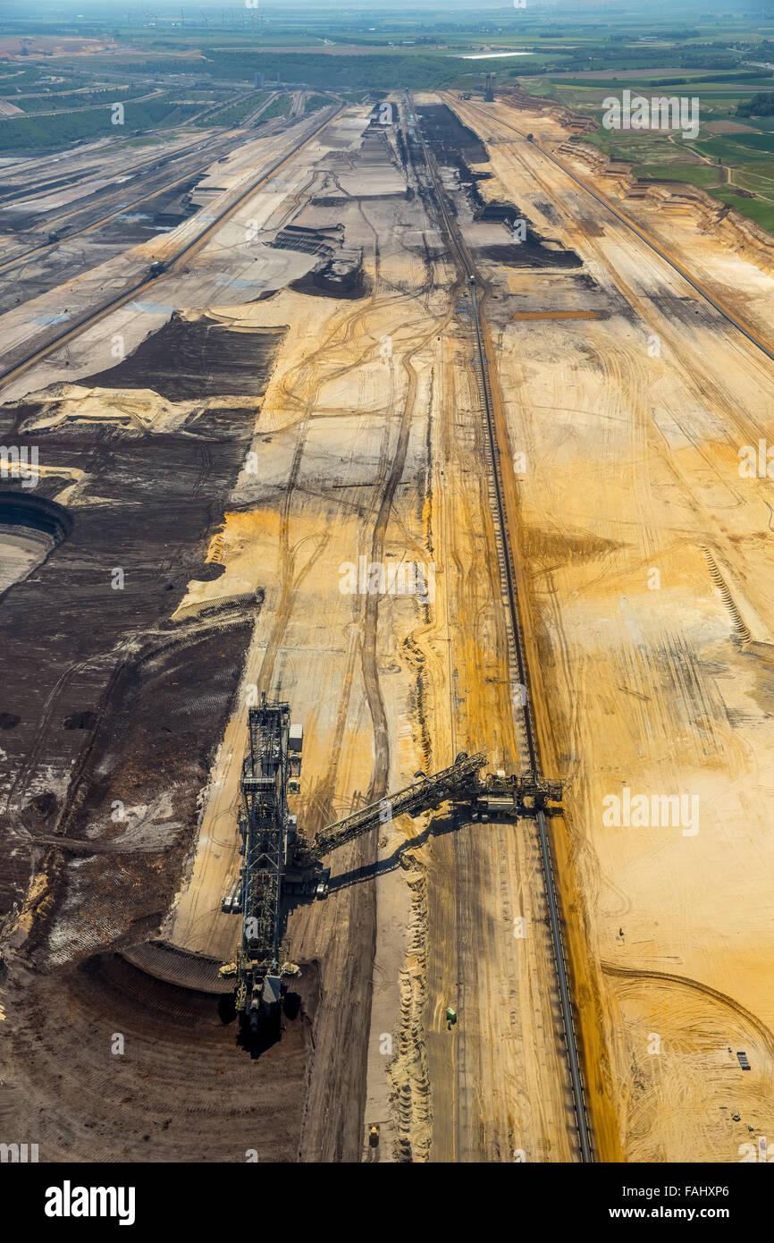 Aerial view, lignite, brown coal mining Inden near Jülich, bucket wheel excavators, lignite excavators, coal, Inden, Stock Photo