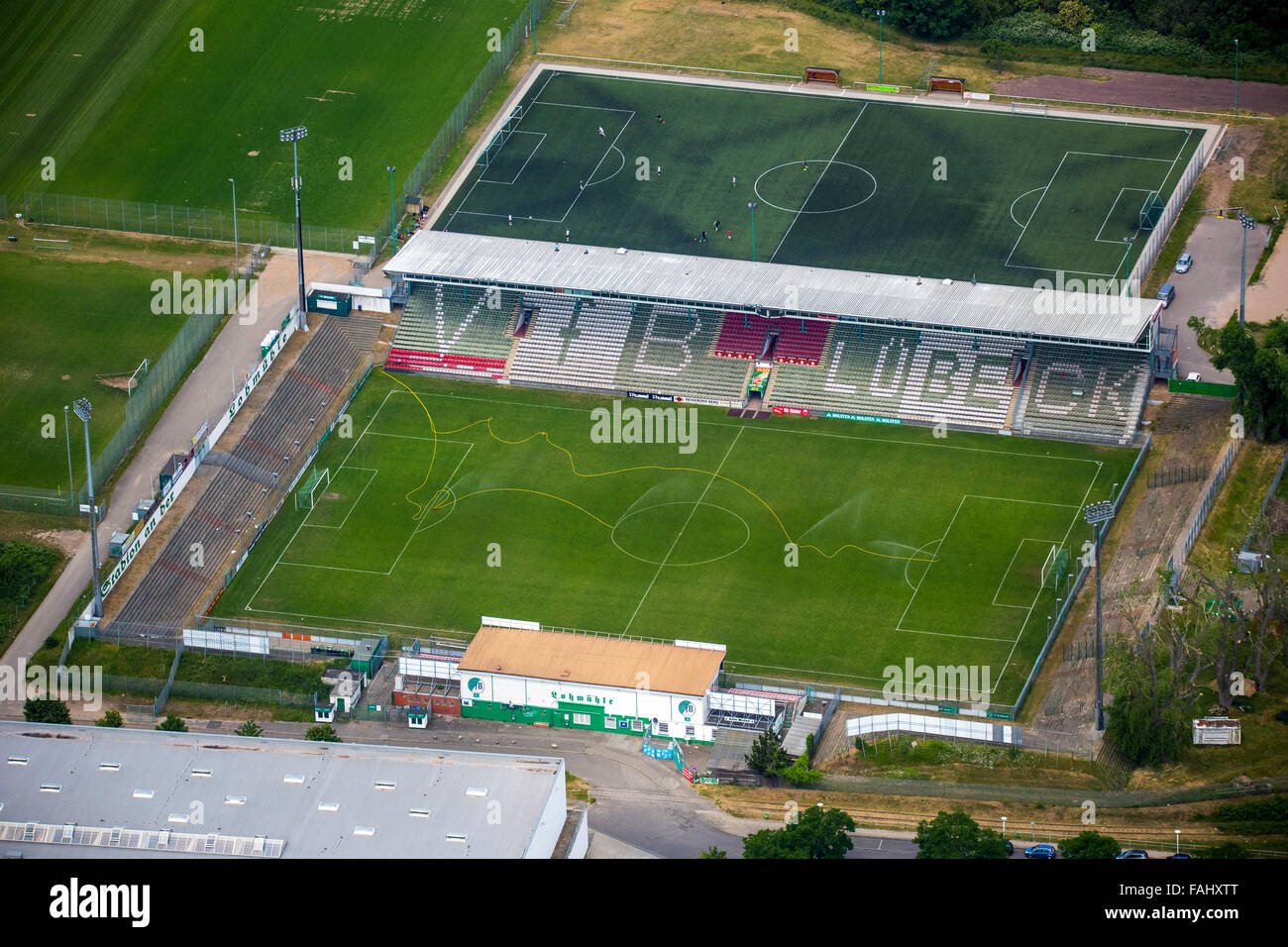 Aerial view, Lohmühle Stadium, VfB Lübeck football club, 2.Bundesliga, Stadium Lohmühle, football stadium, Lübeck, Stock Photo