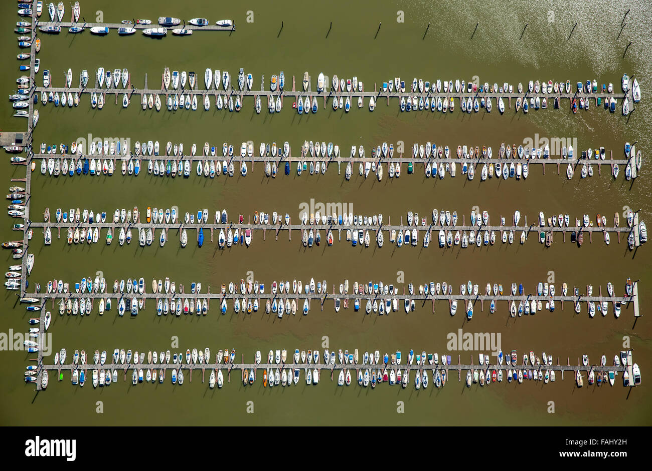 Aerial view, Hamburger Yacht Harbour Community Association, sailboats, sailboat, jetty, Elbe, Wedel, northern Germany, - Stock Image