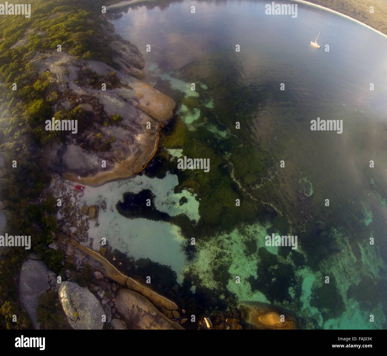 Aerial view of seagrass meadows and rocky coast of Frenchman Bay, Albany, Western Australia - Stock Image