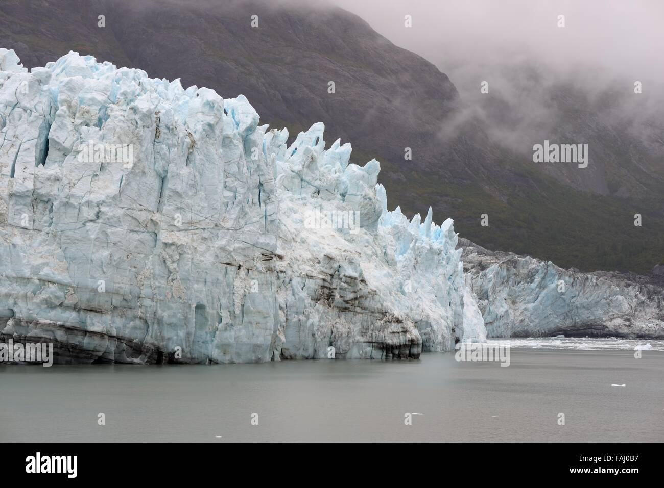 The constantly moving ice field of Glacier bay, Alaska, USA - Stock Image