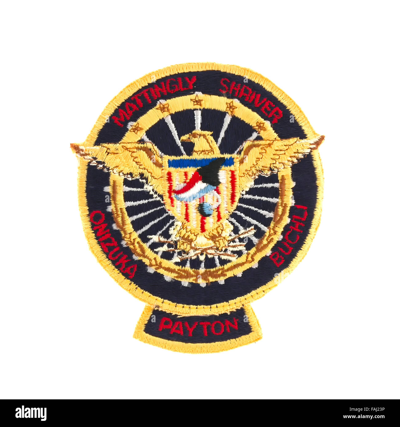 Mission Badge from the STS-51 Space Shuttle Flight on a white background - Stock Image