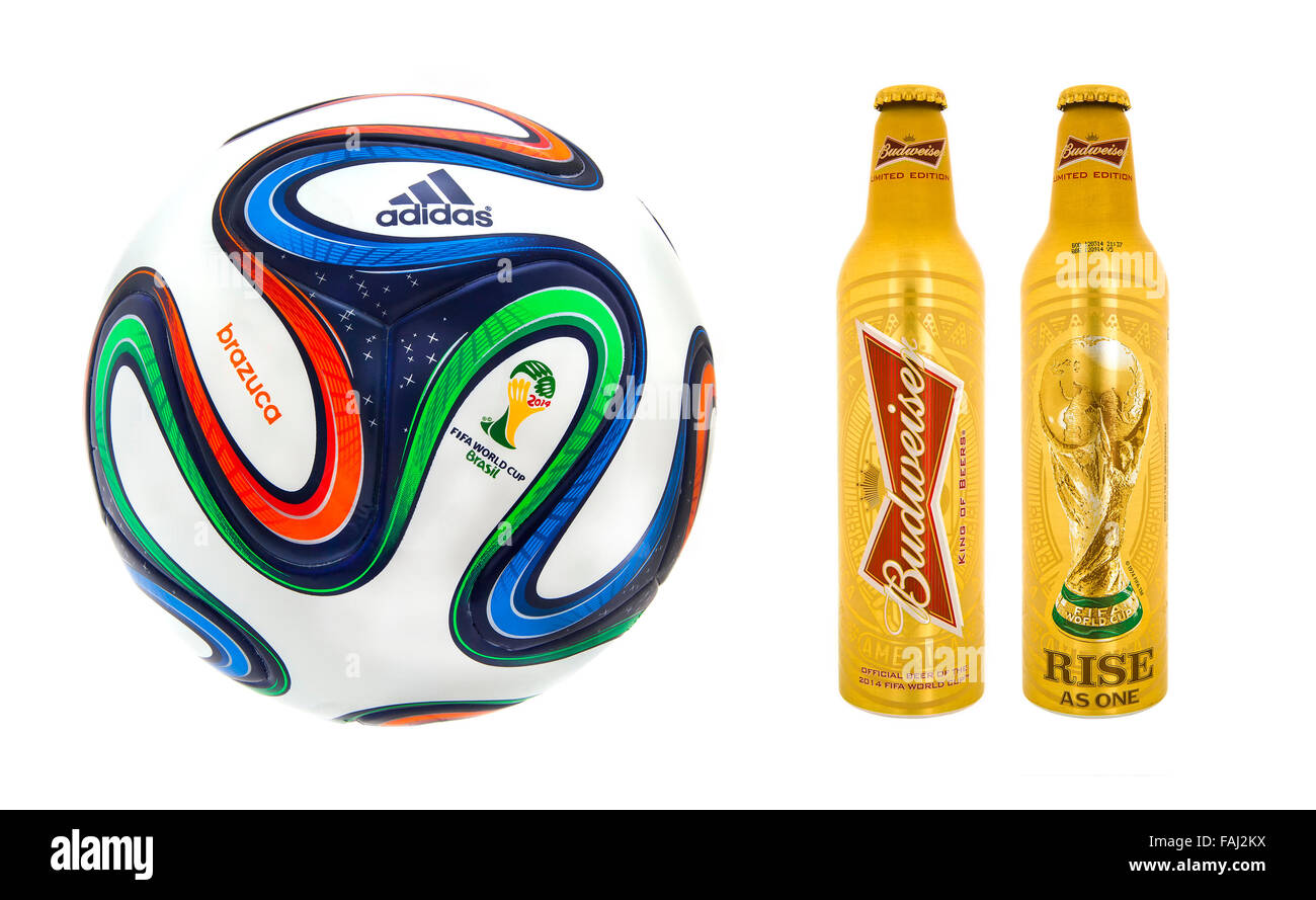 Adidas Brazuca World Cup 2014 Football with Bottles for Budweiser, The Official Match ball and Beer for the 2014 - Stock Image