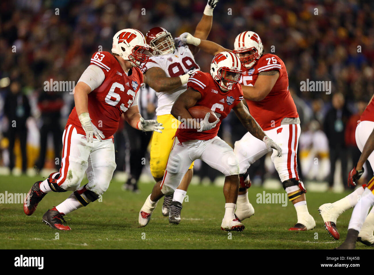 December 30, 2015 Wisconsin Badgers runningback Corey Clement #6 carries the ball during the Holiday Bowl game between - Stock Image