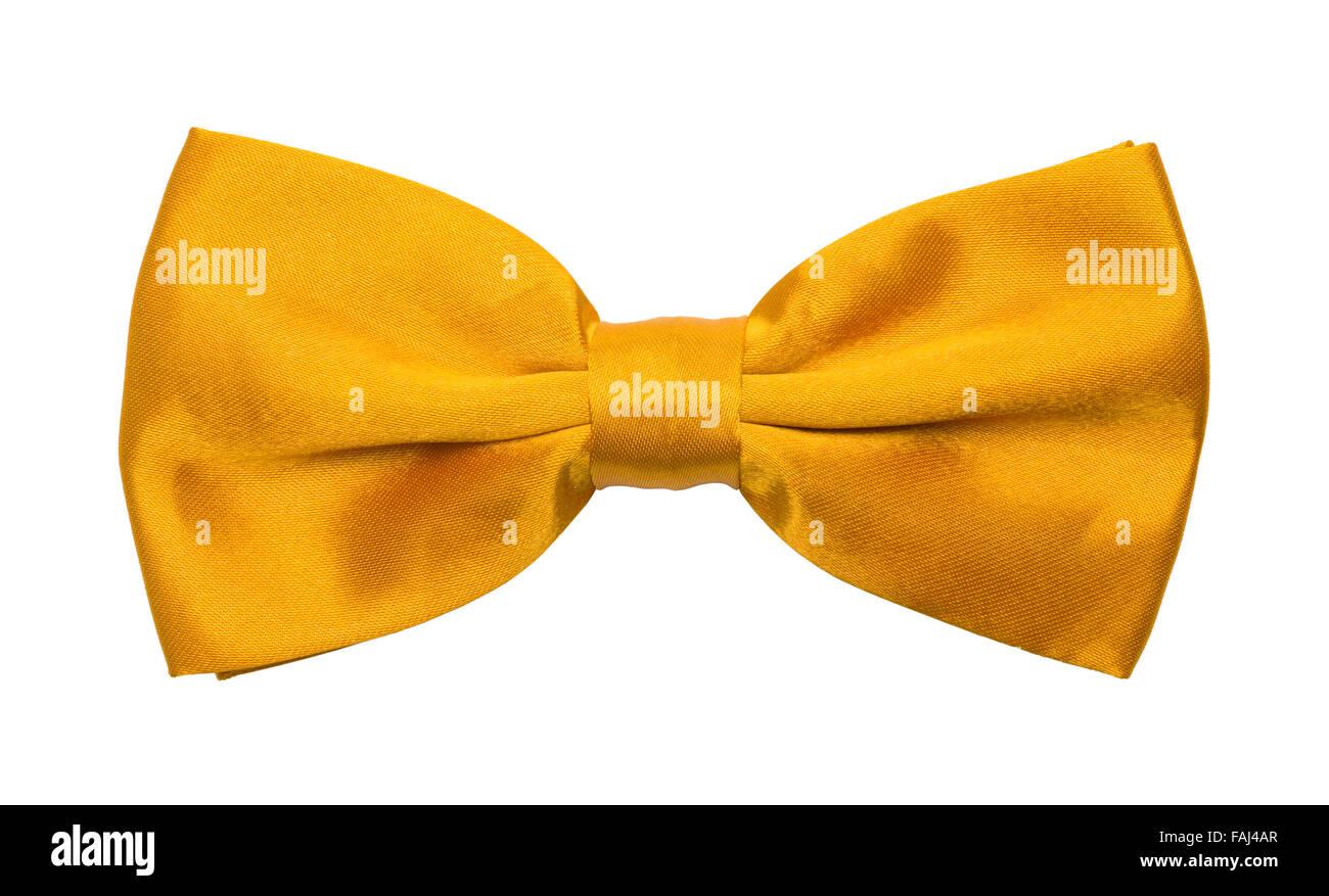 Yellow Tuxedo Bow tie Isolated on a White Background. - Stock Image