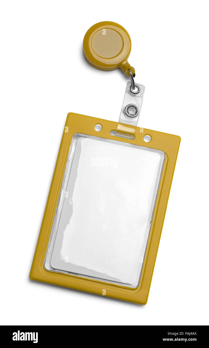 Yellow ID Card Holder Isolated on a White Background. - Stock Image