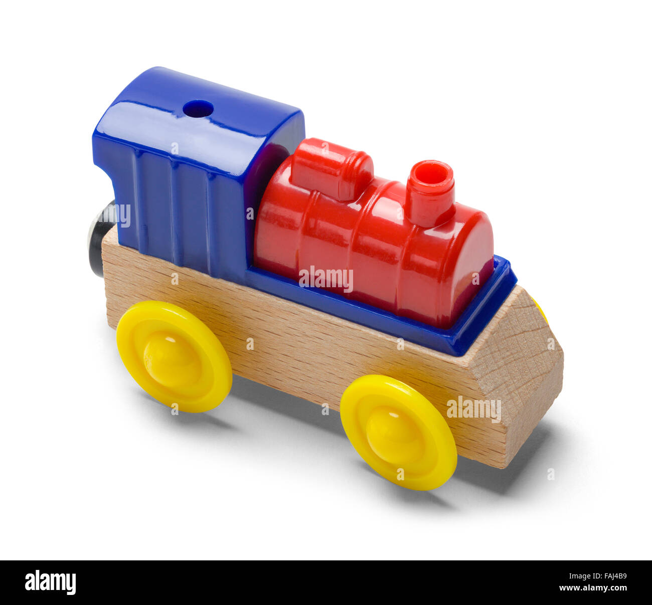 Kids Play Toy Train Engine Isolated on a White Background. - Stock Image