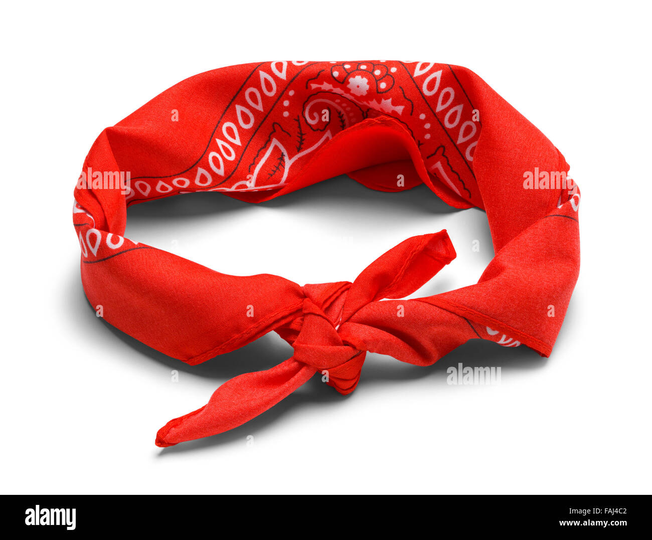 Red Handkerchief Headband Isolated on a White Background. - Stock Image