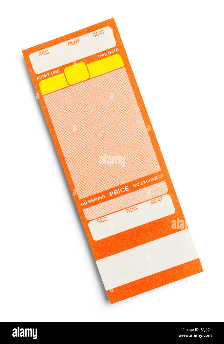 Orange Event Ticket With Copy Space Isolated on a White Background. - Stock Image