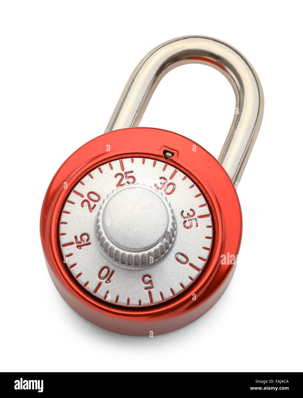 Red Combination Lock Isolated on a White Background. - Stock Image