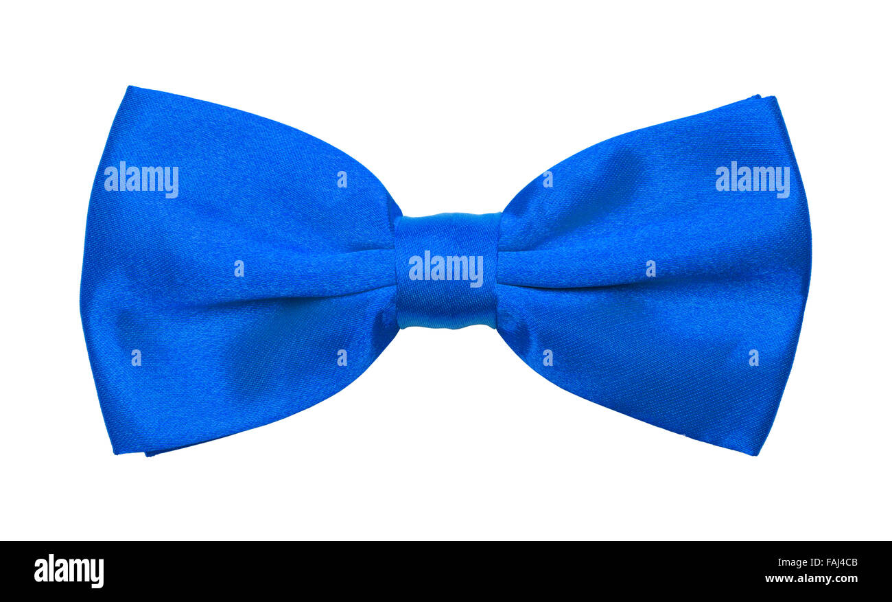 Blue Tuxedo Bow tie Isolated on a White Background. - Stock Image