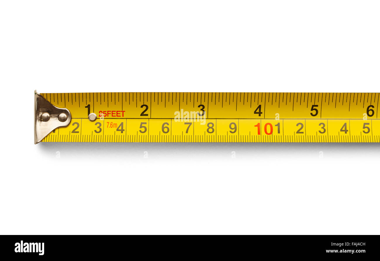 Six Inch Yellow Metal Tape Measure Isolated on a White Background. - Stock Image