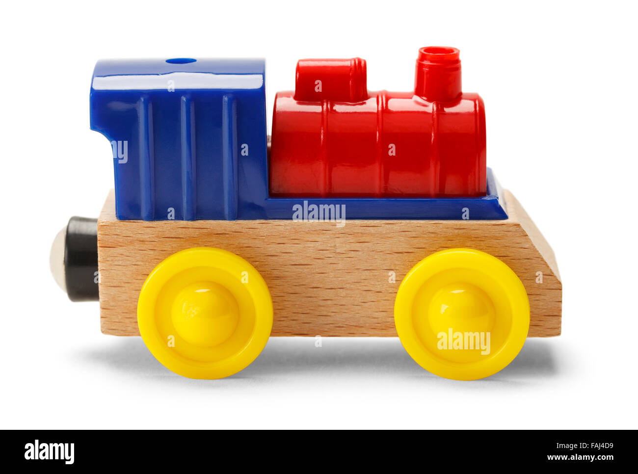 Kids Play Toy Train Engine Isolated on a White Background. Stock Photo