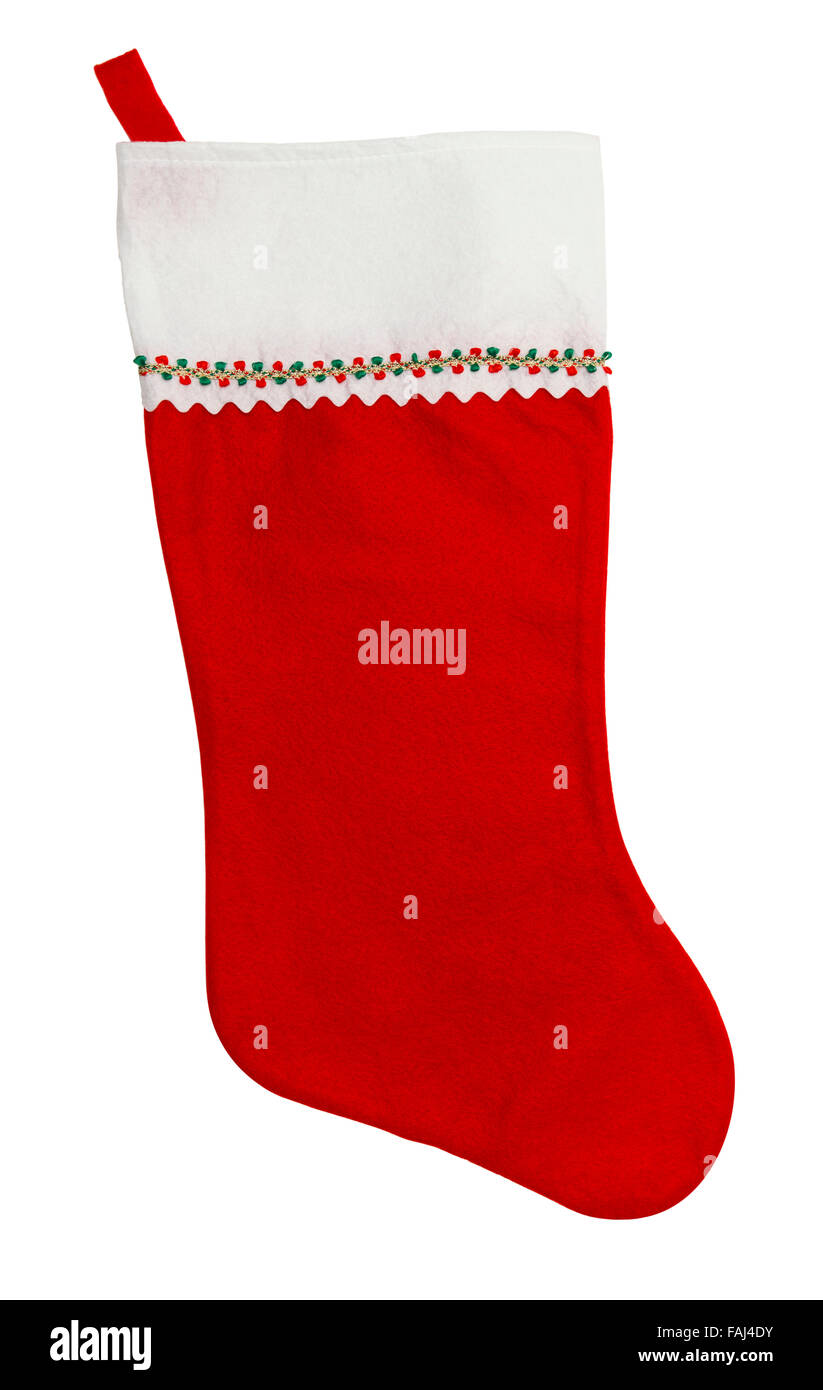 Red Christmas Stocking with Copy Space Isolated on a White Background. - Stock Image
