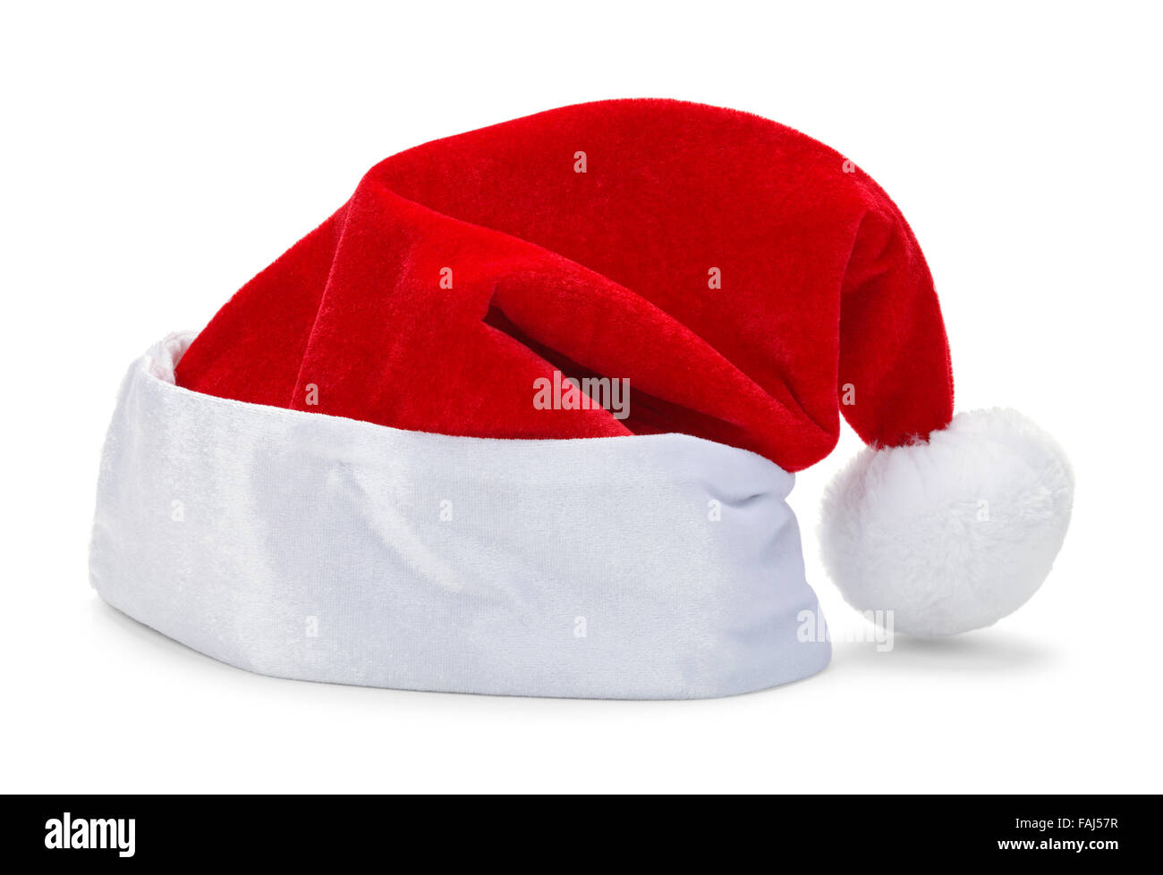 Red Christmas Santa Hat Isolated on White Background. - Stock Image