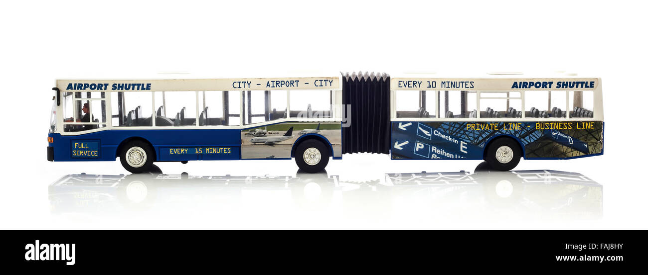 Model of a Bendy Airport Shuttle Bus on a White Background - Stock Image