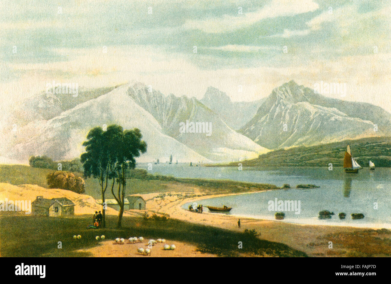 View of The Isle of Arran, Firth of Clyde, Scotland, from Ardrossan in 1820. After the aquatint by William Daniell. - Stock Image