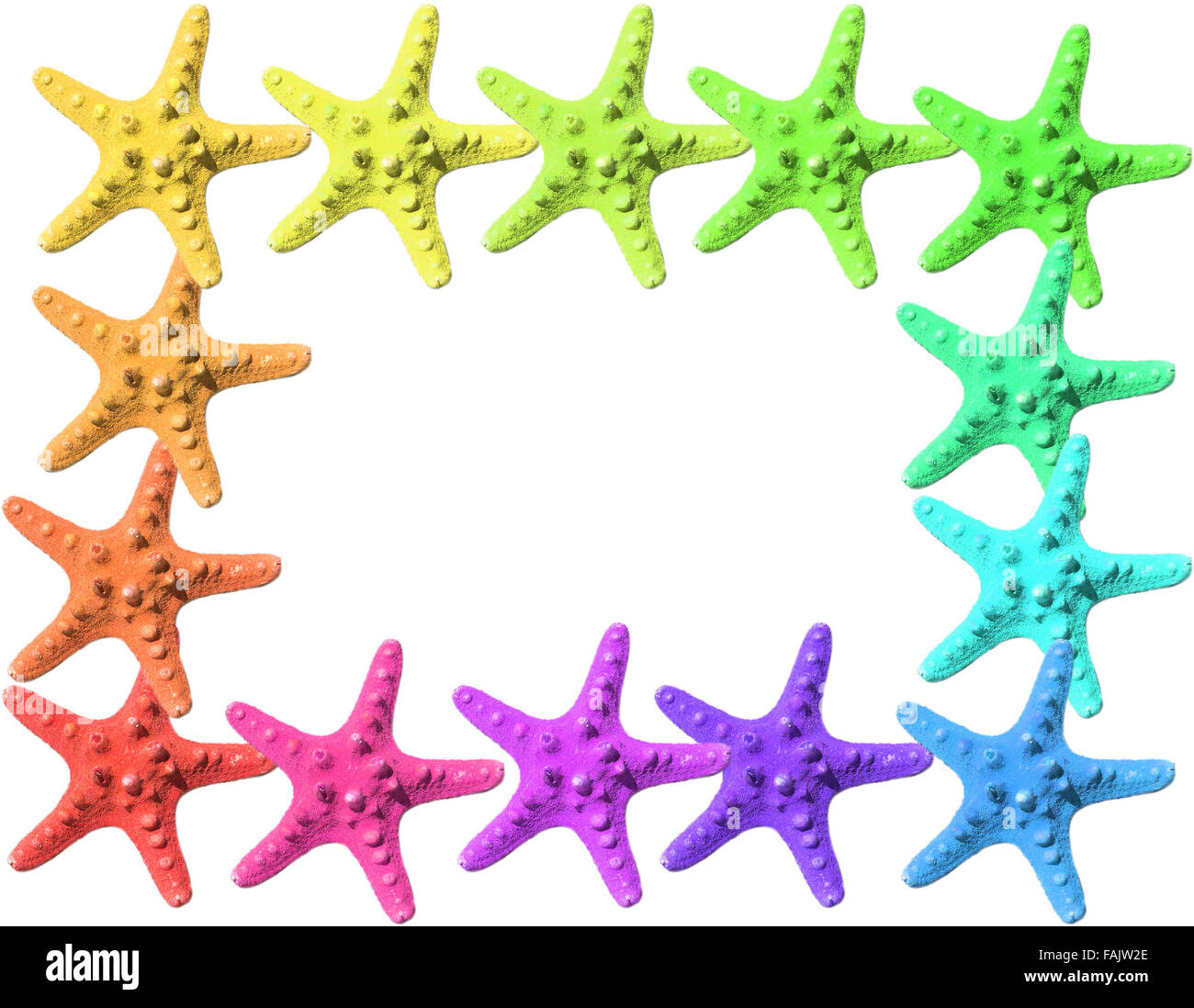 frame made with colorful starfish on an empty background Stock Photo ...