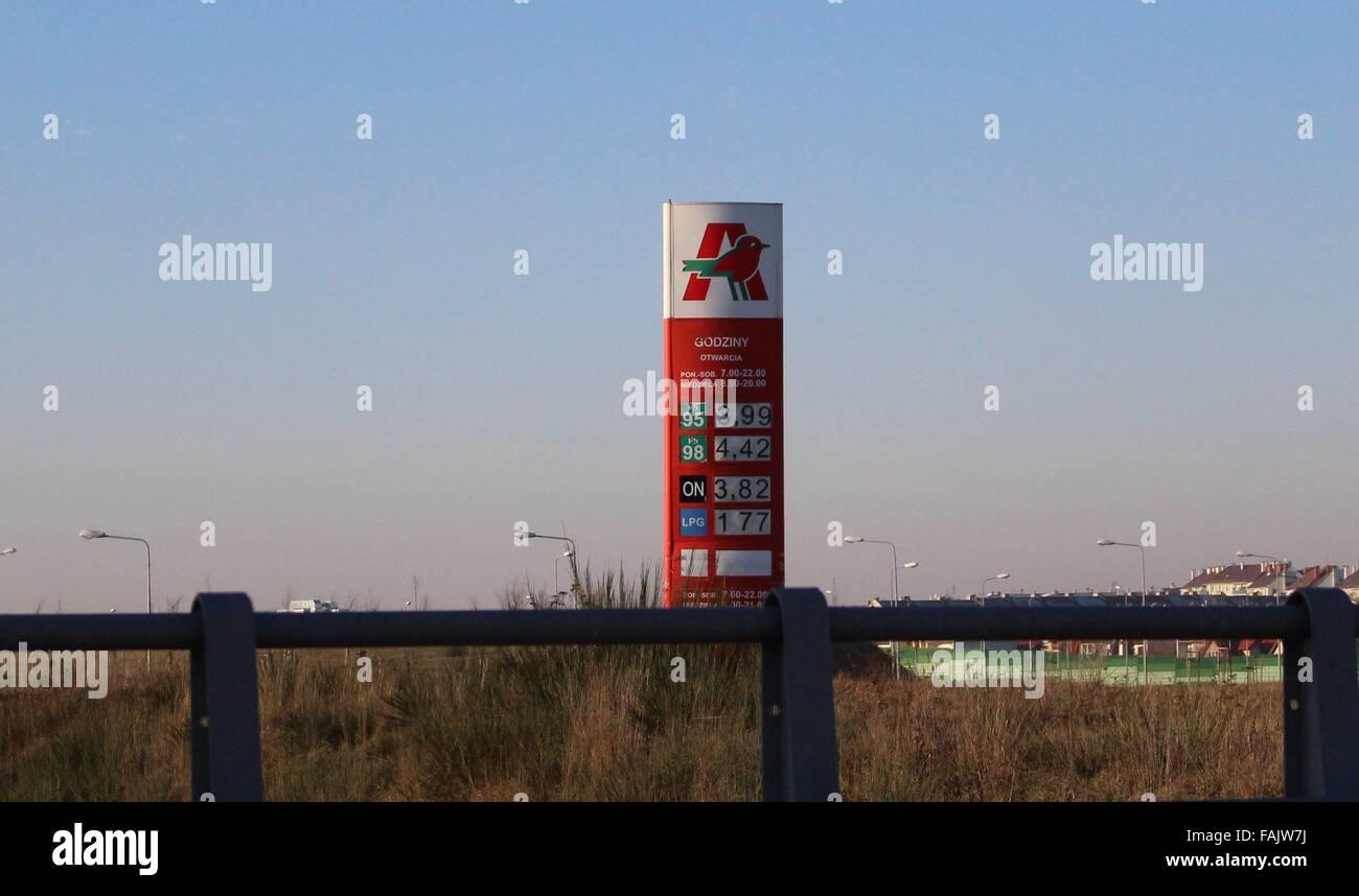 Gdansk Poland 31st Dec 2015 Auchan Gas Station In Gdansk