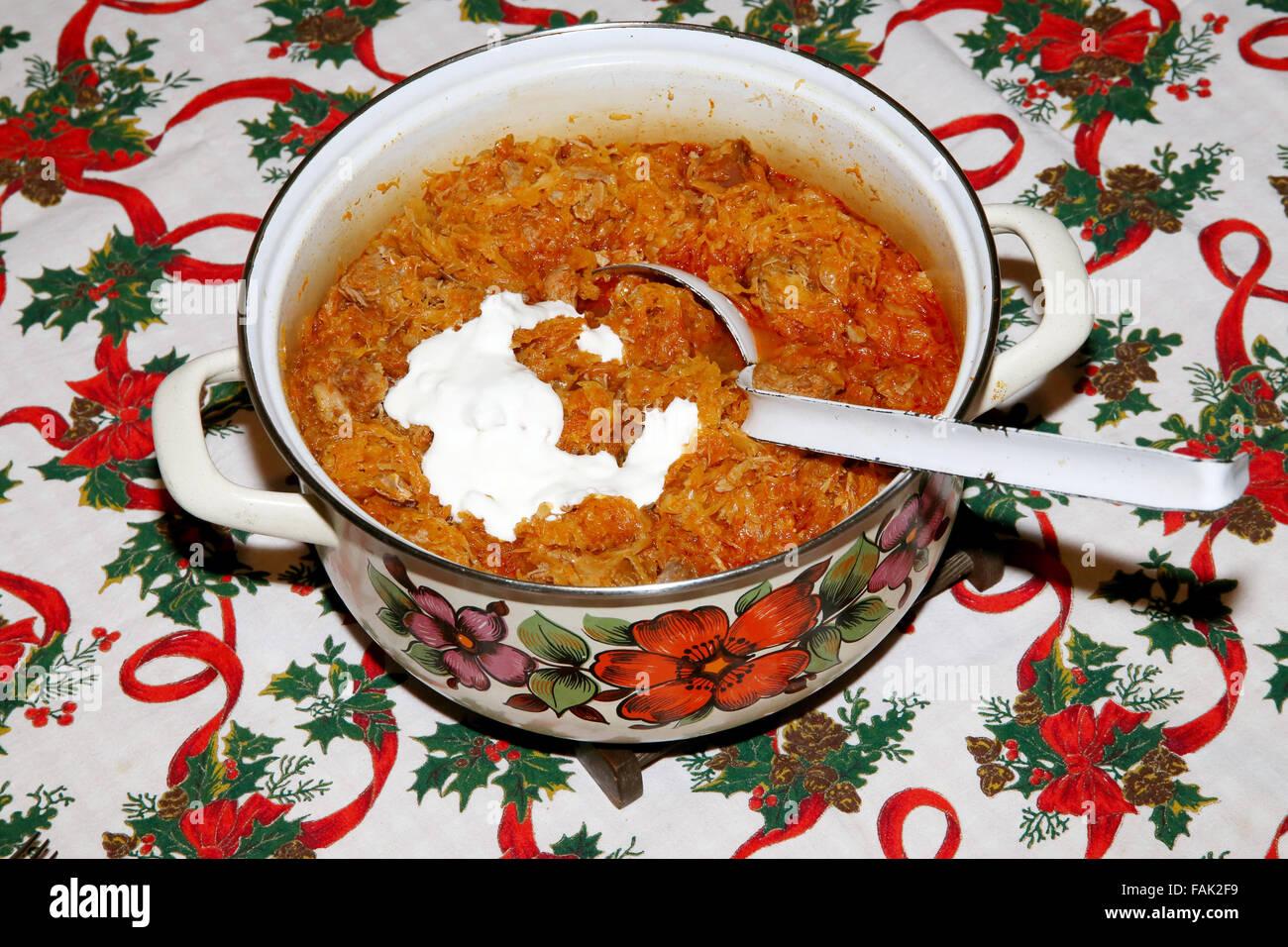 Hungarian Christmas Traditions.Homemade Traditional Hungarian Christmas Cabbage Meal Stock
