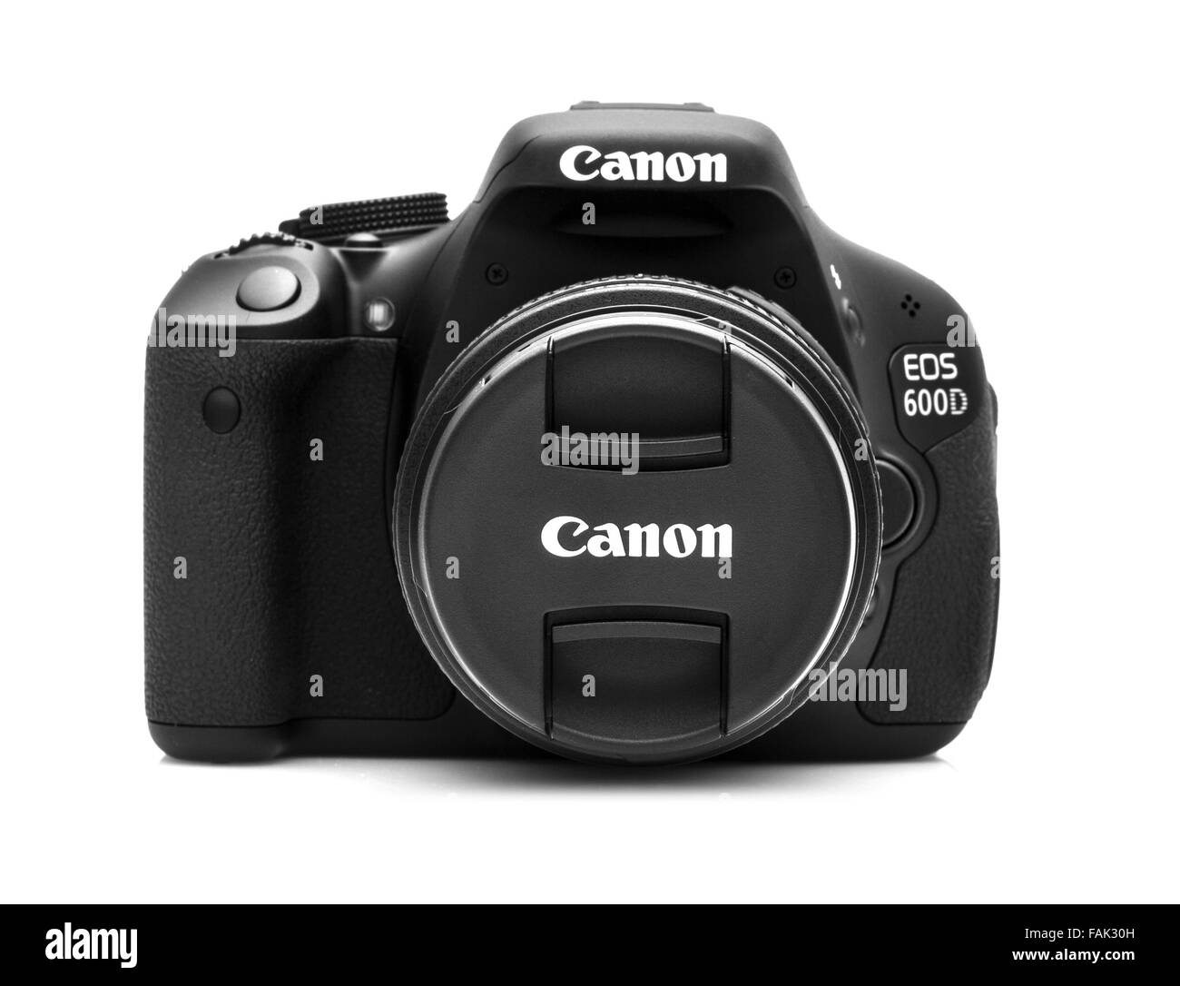 Canon 600D DSLR Camera on a White Background - Stock Image