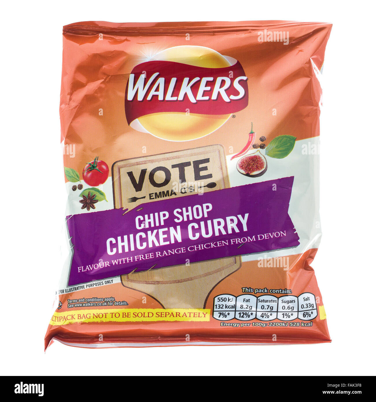 A Bag of Walkers Chip Shop Chicken Curry Flavour crisps (new 2014 packaging) isolated on a white - Stock Image
