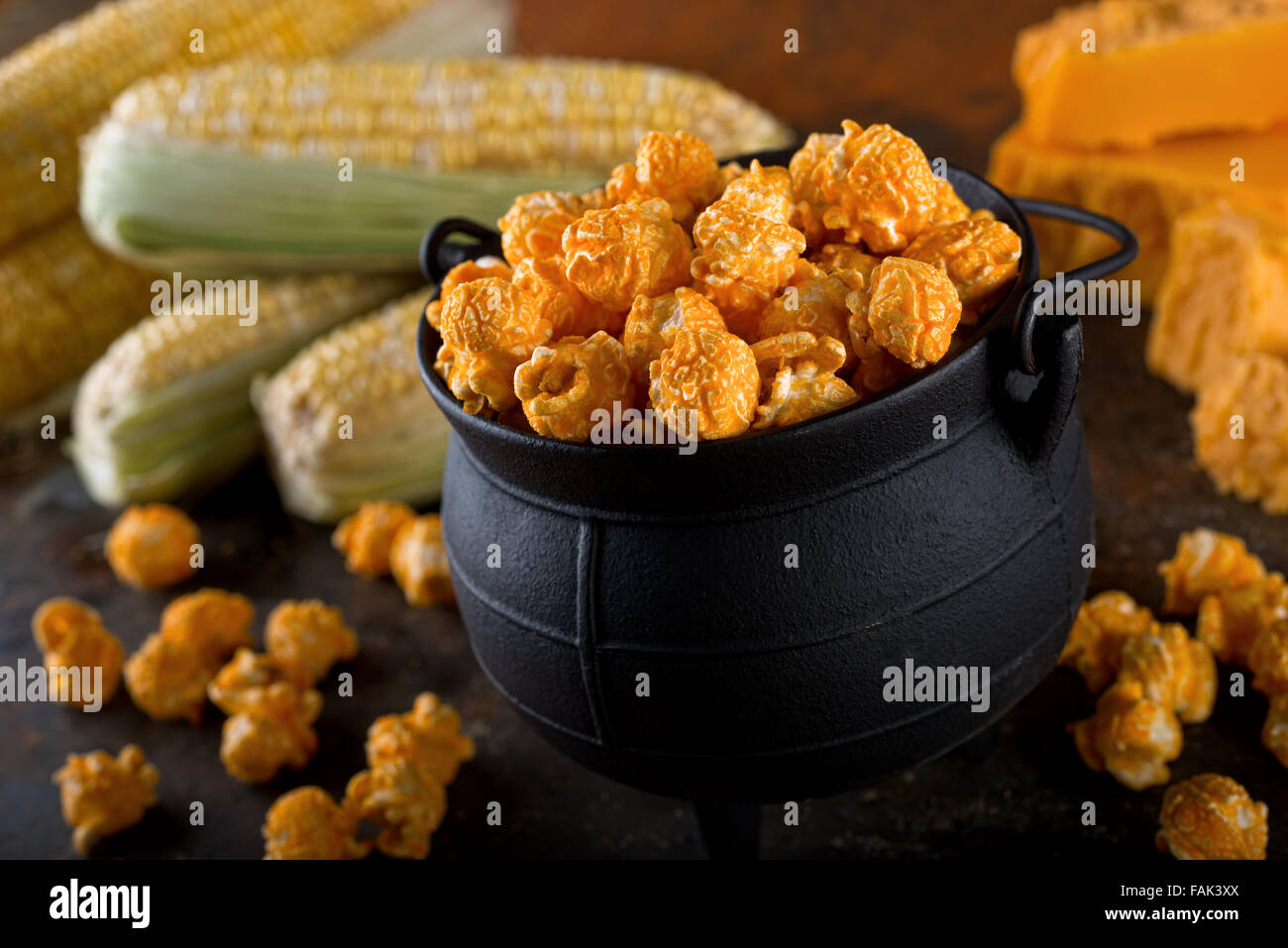 Delicious homemade cheddar cheese kettle corn popcorn. - Stock Image