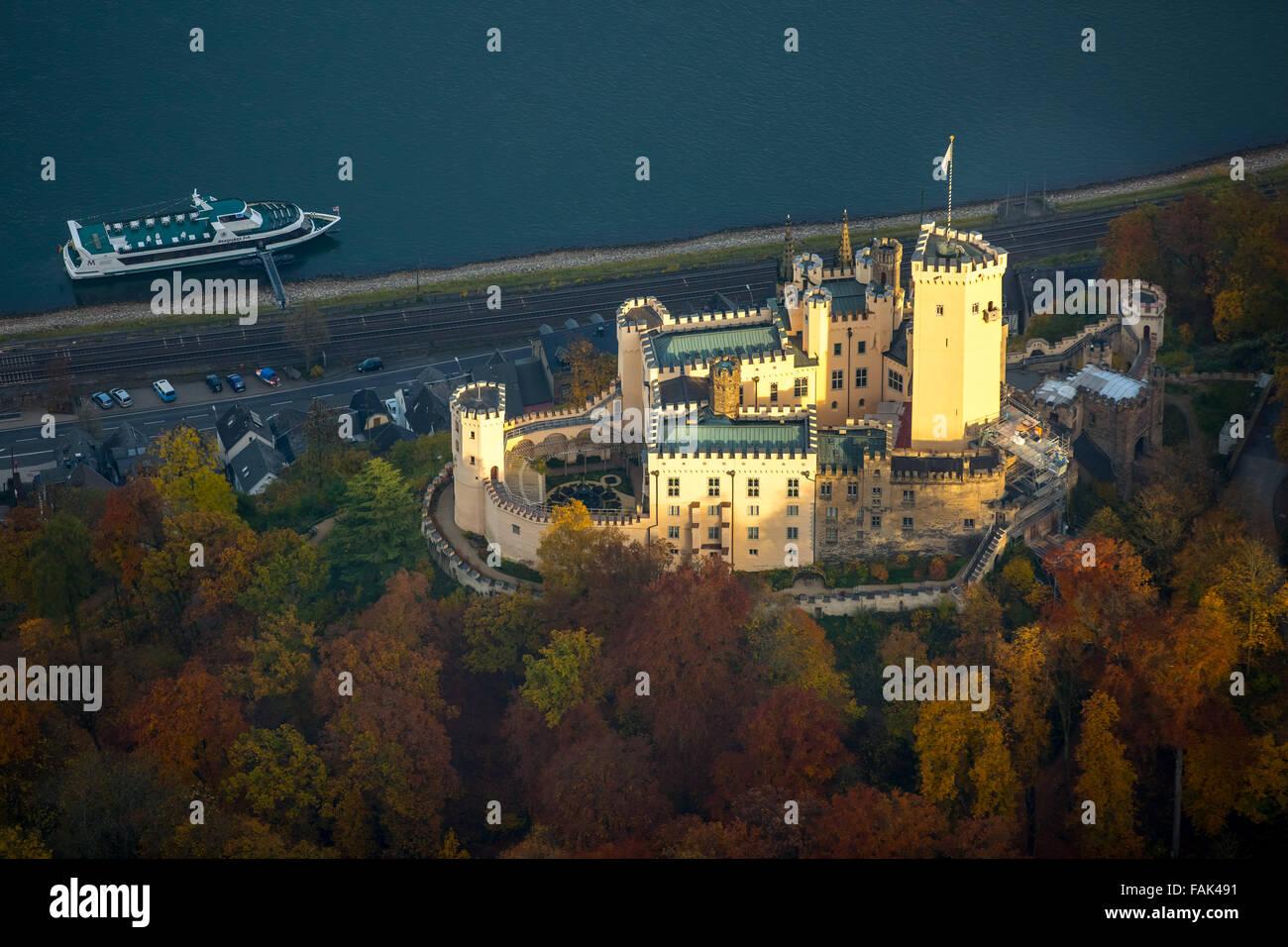 Stolzenfels castle on the Rhine, Rhine romanticism, Koblenz, Middle Rhine Valley, Rhineland-Palatinate, Germany - Stock Image