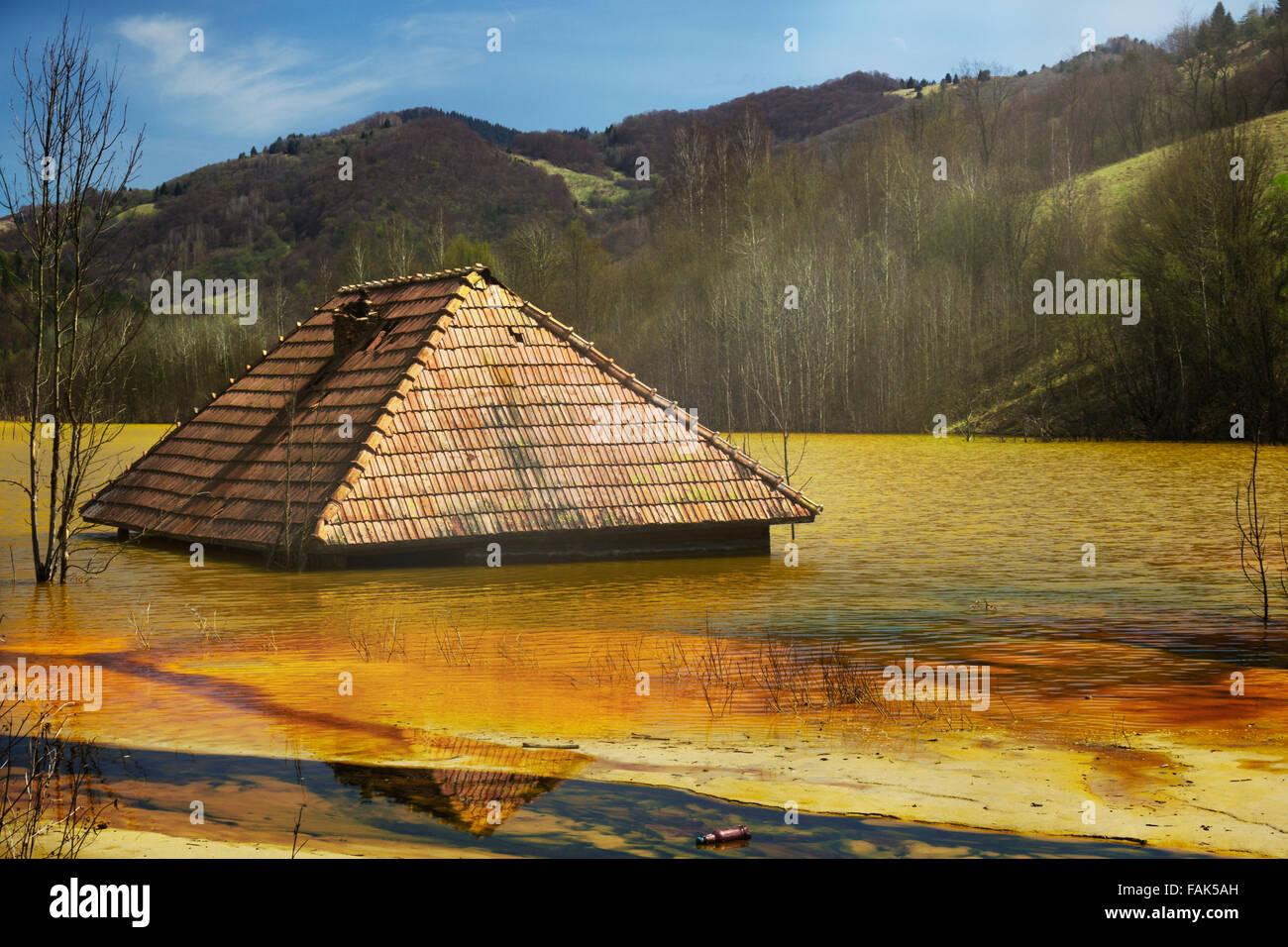 Toxic lake - Stock Image