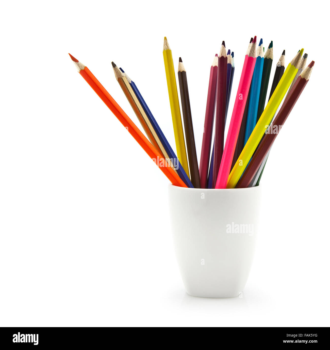 Colourful Pencils in a white Mug - Stock Image