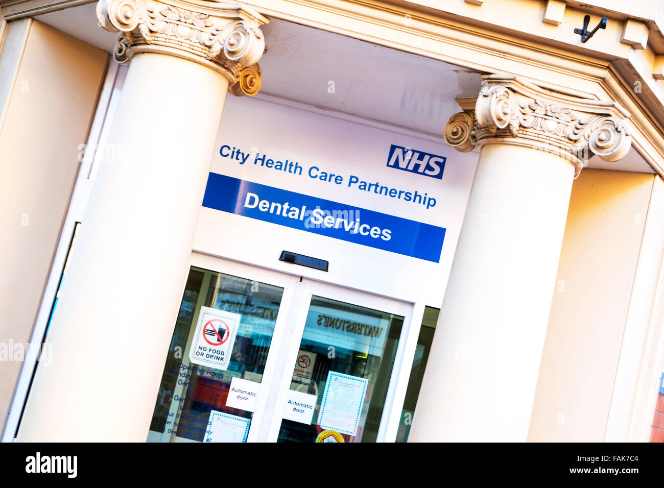 NHS dentist dental services service national health service sign health care Kingston upon Hull UK England - Stock Image