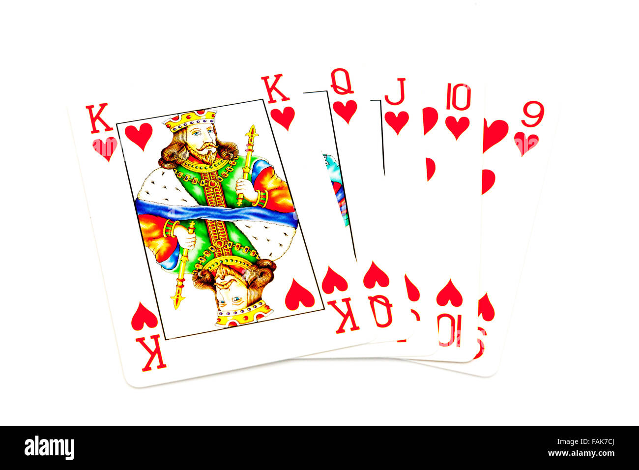 A straight flush five consecutive cards all of the same suit poker hand card cards game games hearts king queen - Stock Image
