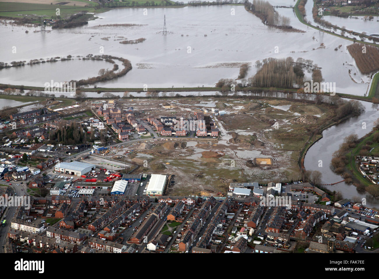 aerial view of a house building site in Castleford, West Yorkshire close to being flooded Stock Photo