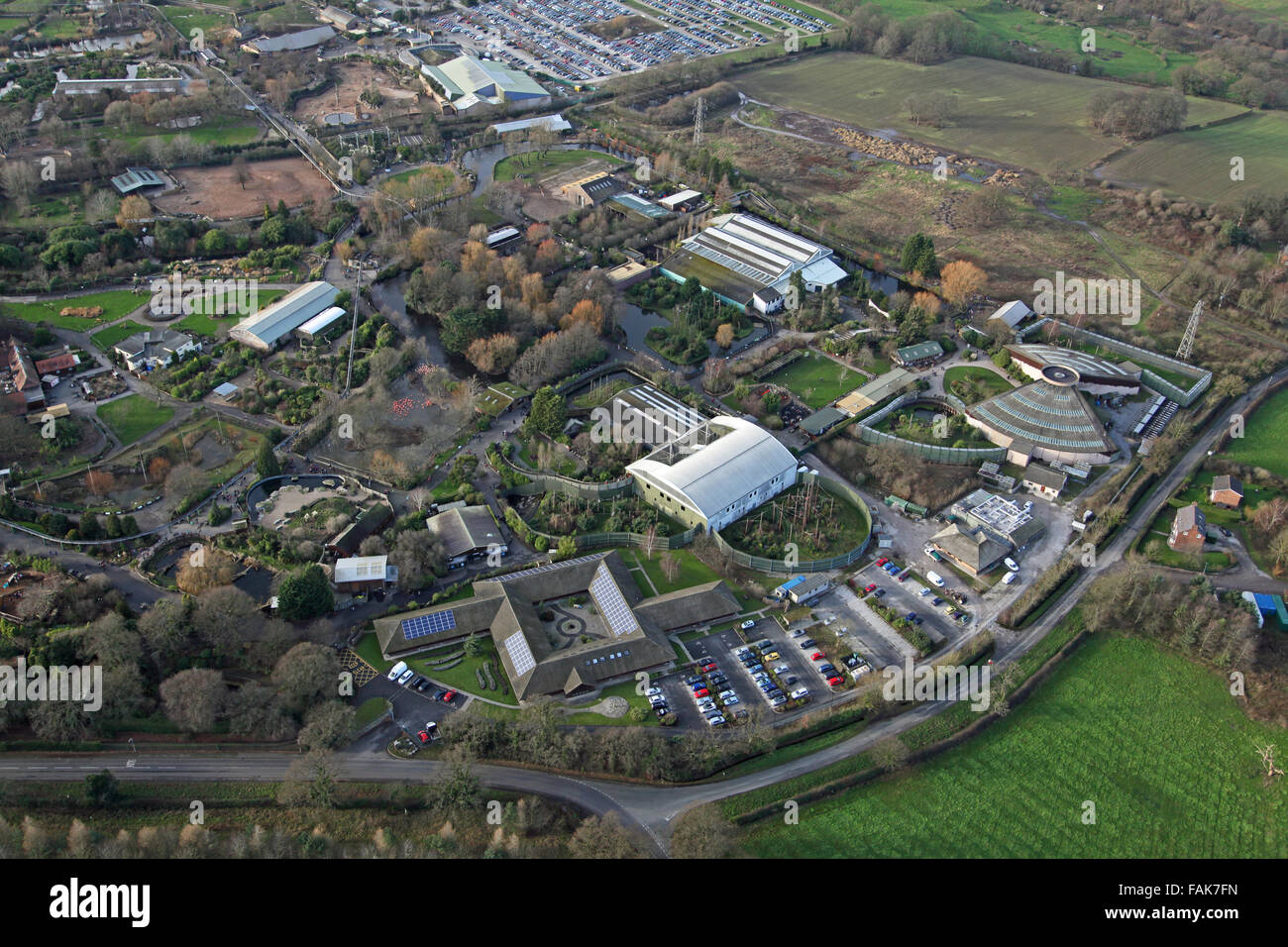 aerial view of Chester Zoo, Cheshire, UK - Stock Image