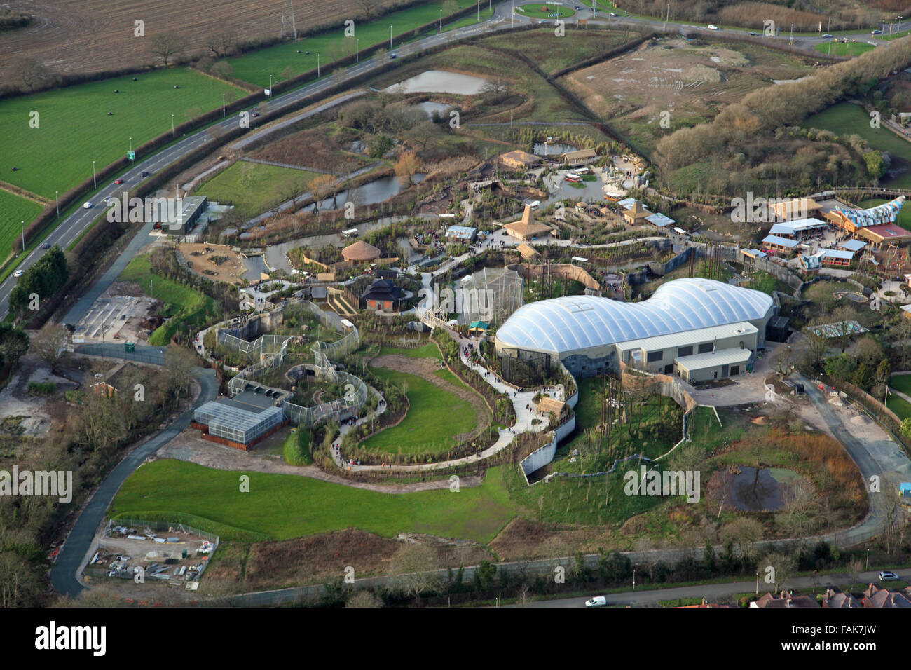 aerial view of Chester Zoo, Cheshire, UK Stock Photo