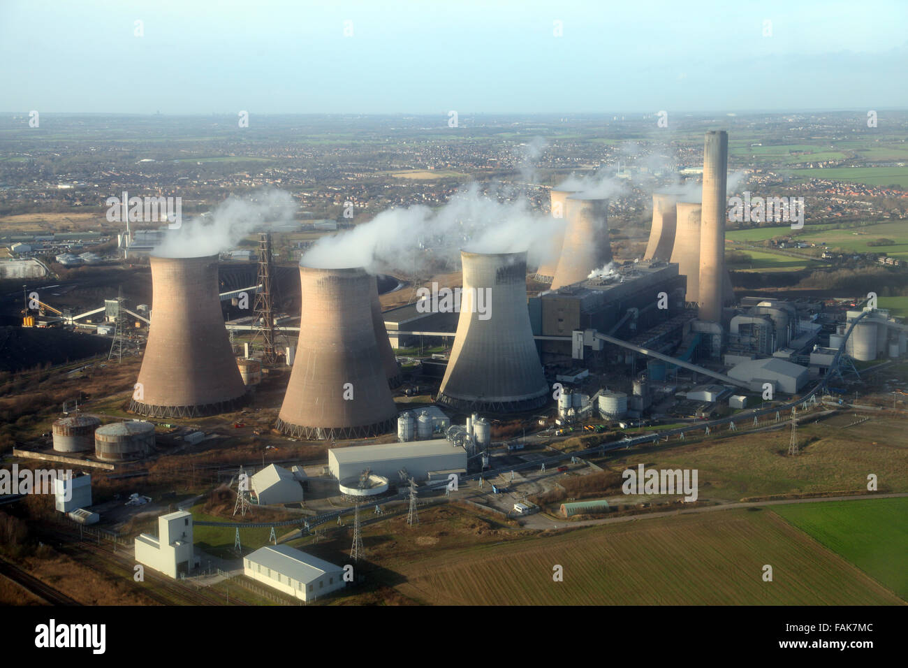 aerial view of Fiddlers Ferry Power Station in Cheshire, UK Stock Photo