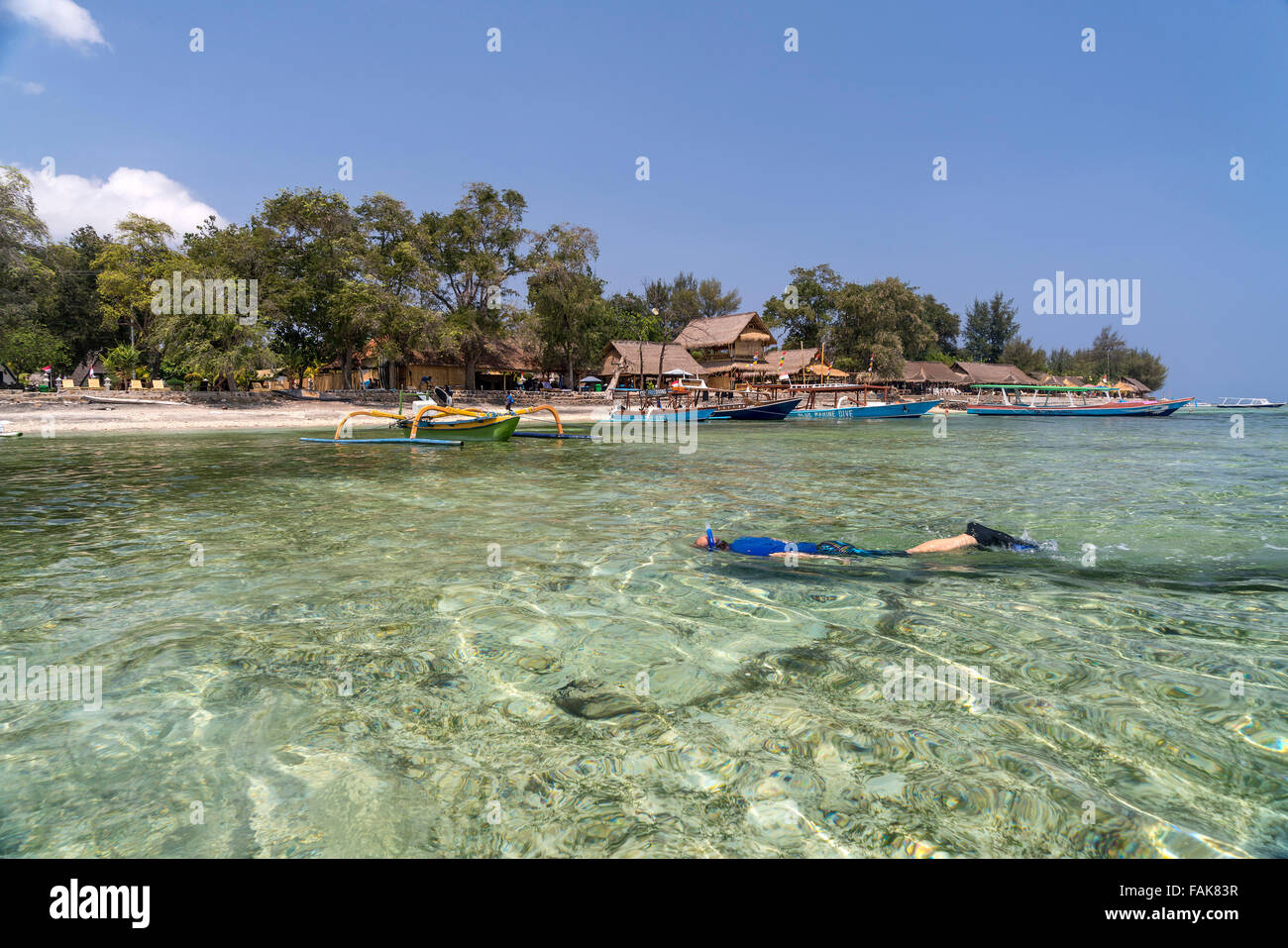 snorkeling near the beach on the small island Gili Air, Lombok, Indonesia, Asia - Stock Image