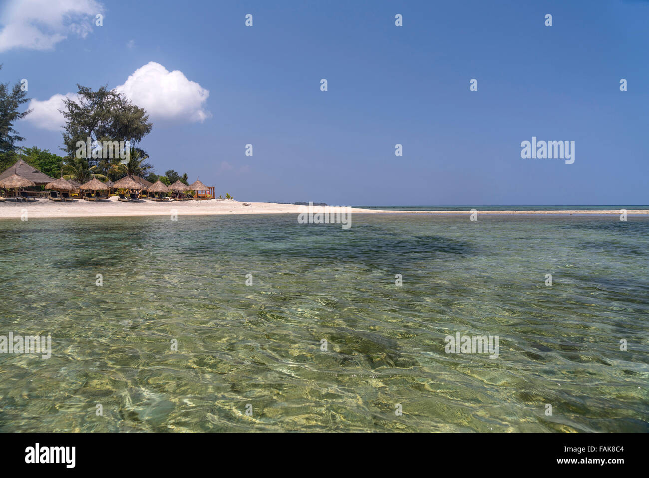 Beach on the small island Gili Air, Lombok, Indonesia, Asi - Stock Image