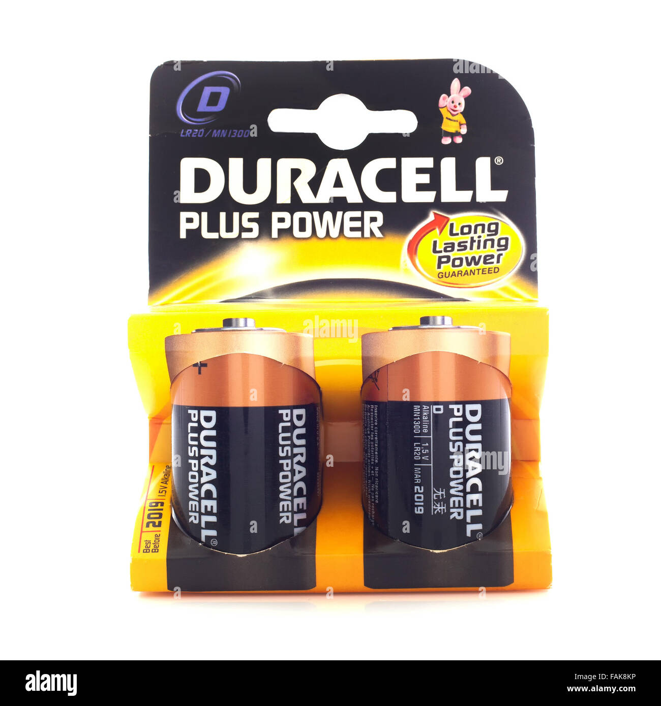 Pack of Duracell C Cell Batteries, Duracell is an American brand of batteries and smart power solutions - Stock Image