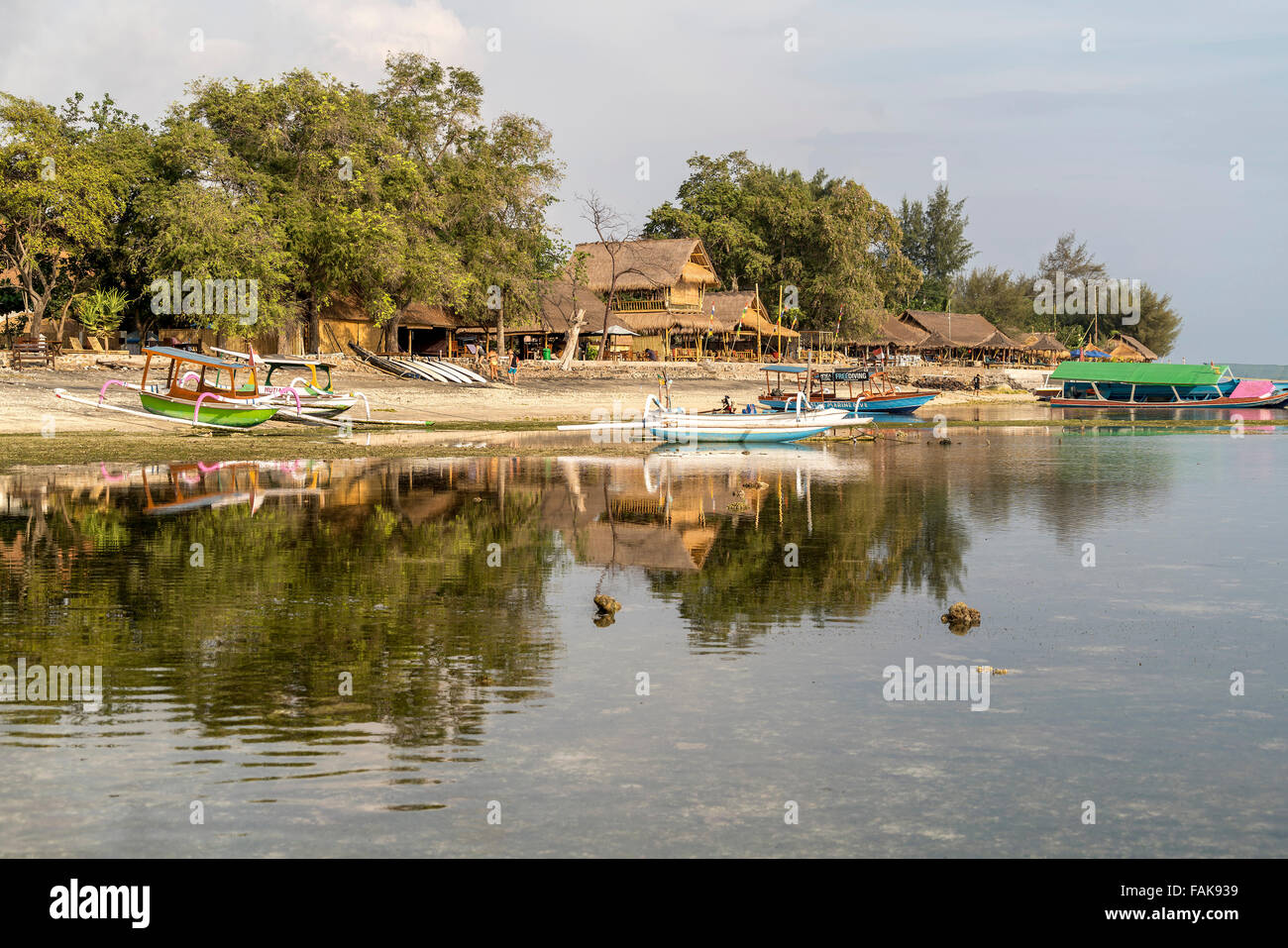outrigger canoes at the beach on the small island Gili Air, Lombok, Indonesia, Asia Stock Photo