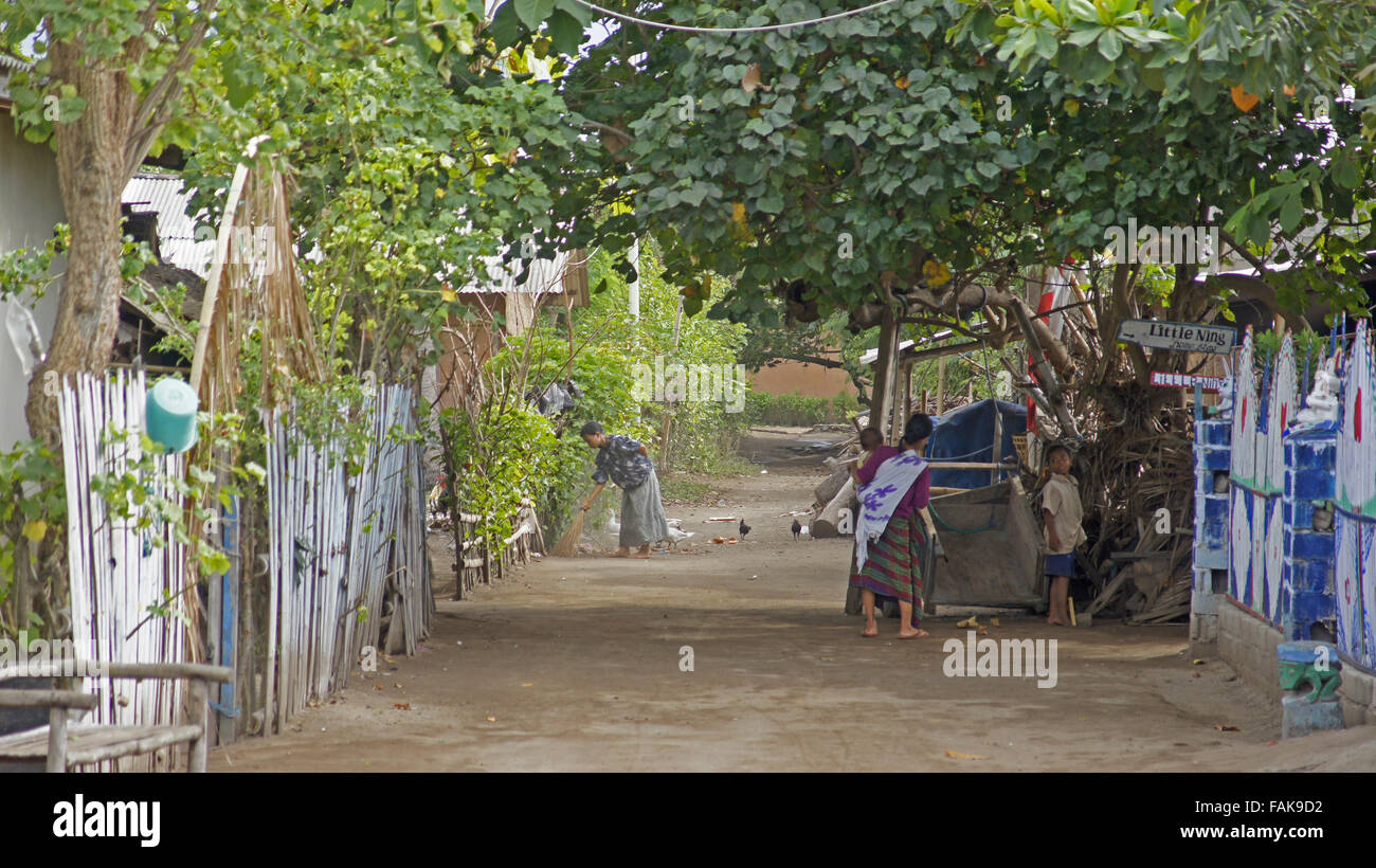 Unchanged and undeveloped main street Gili Islands, Indonesia - Stock Image