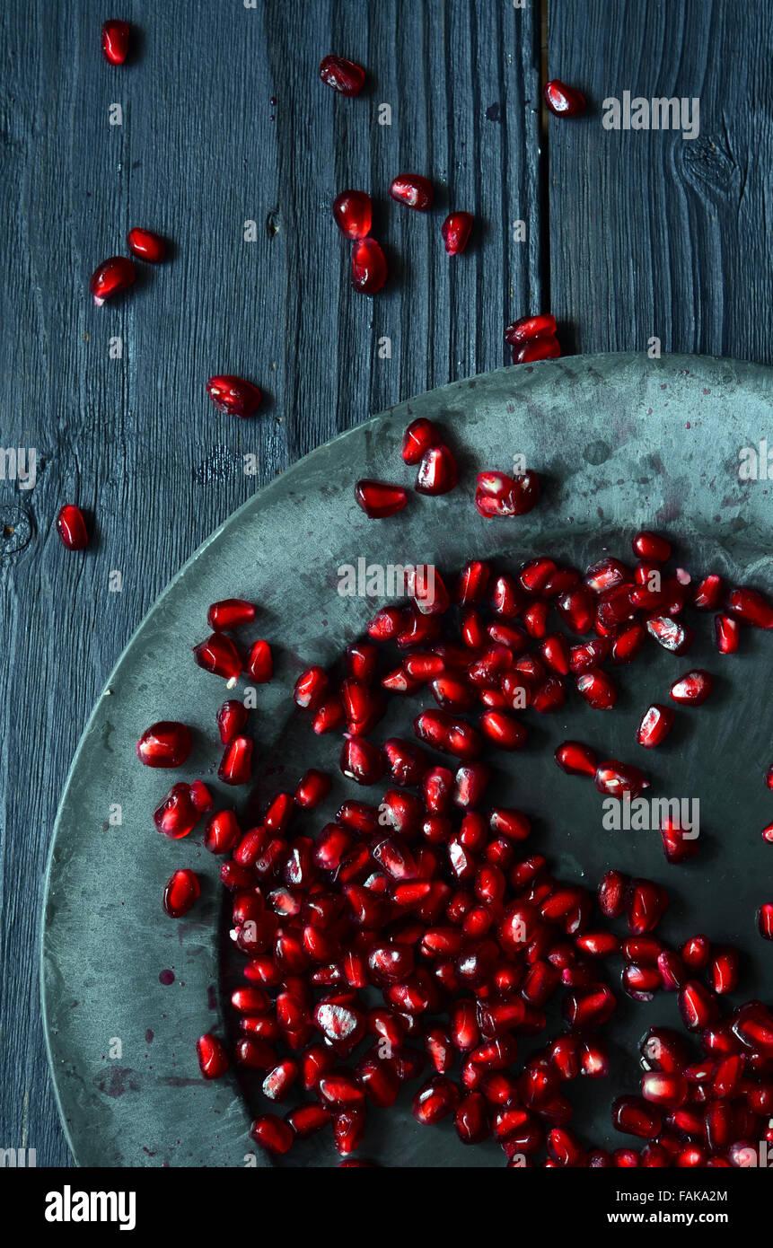 Close up of fresh organic pomegranate seeds Stock Photo
