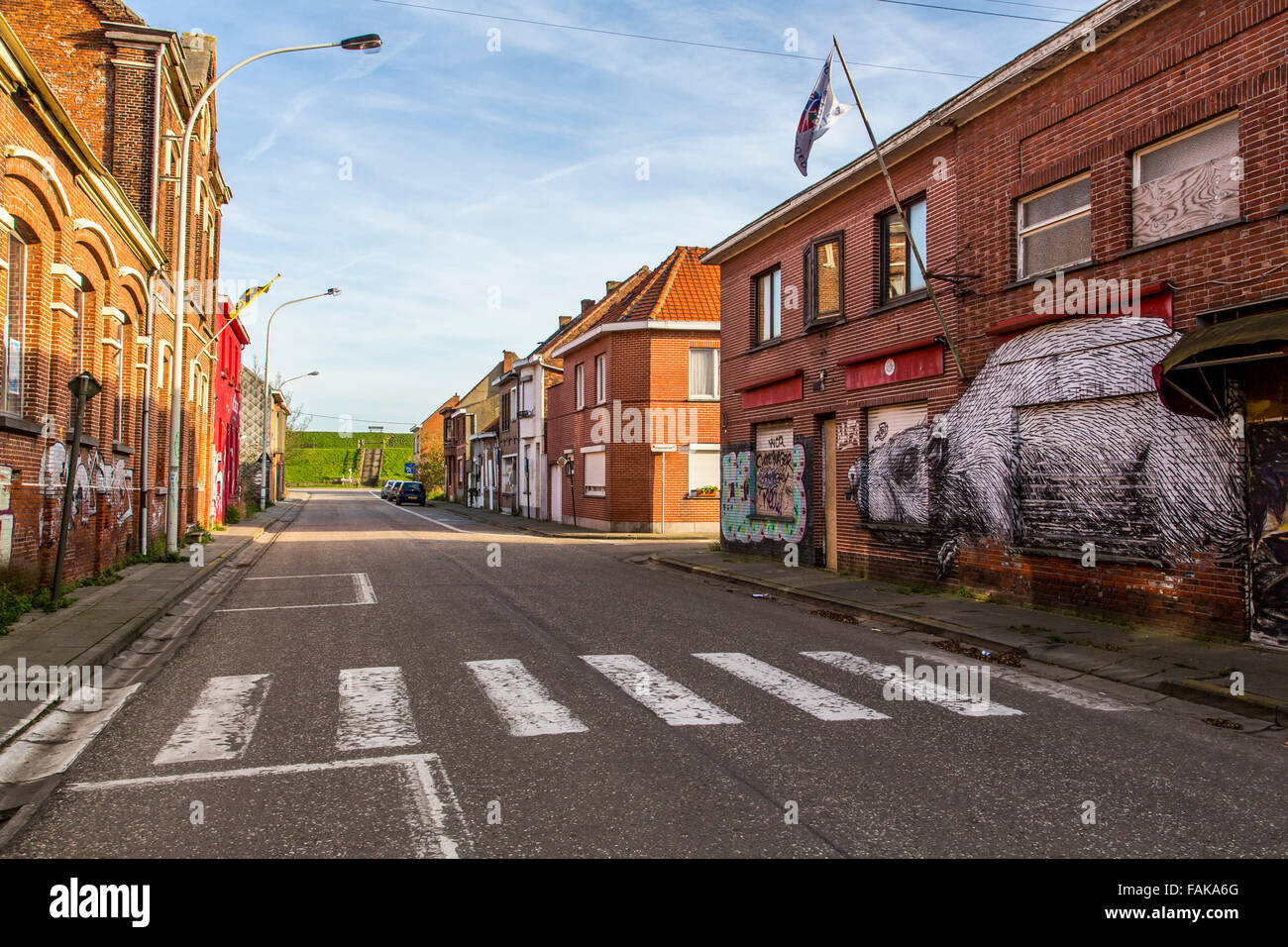 The 'Ghost Town' Doel, in the municipality of Beveren in East Flanders, Belgium, on the Scheldt, - Stock Image