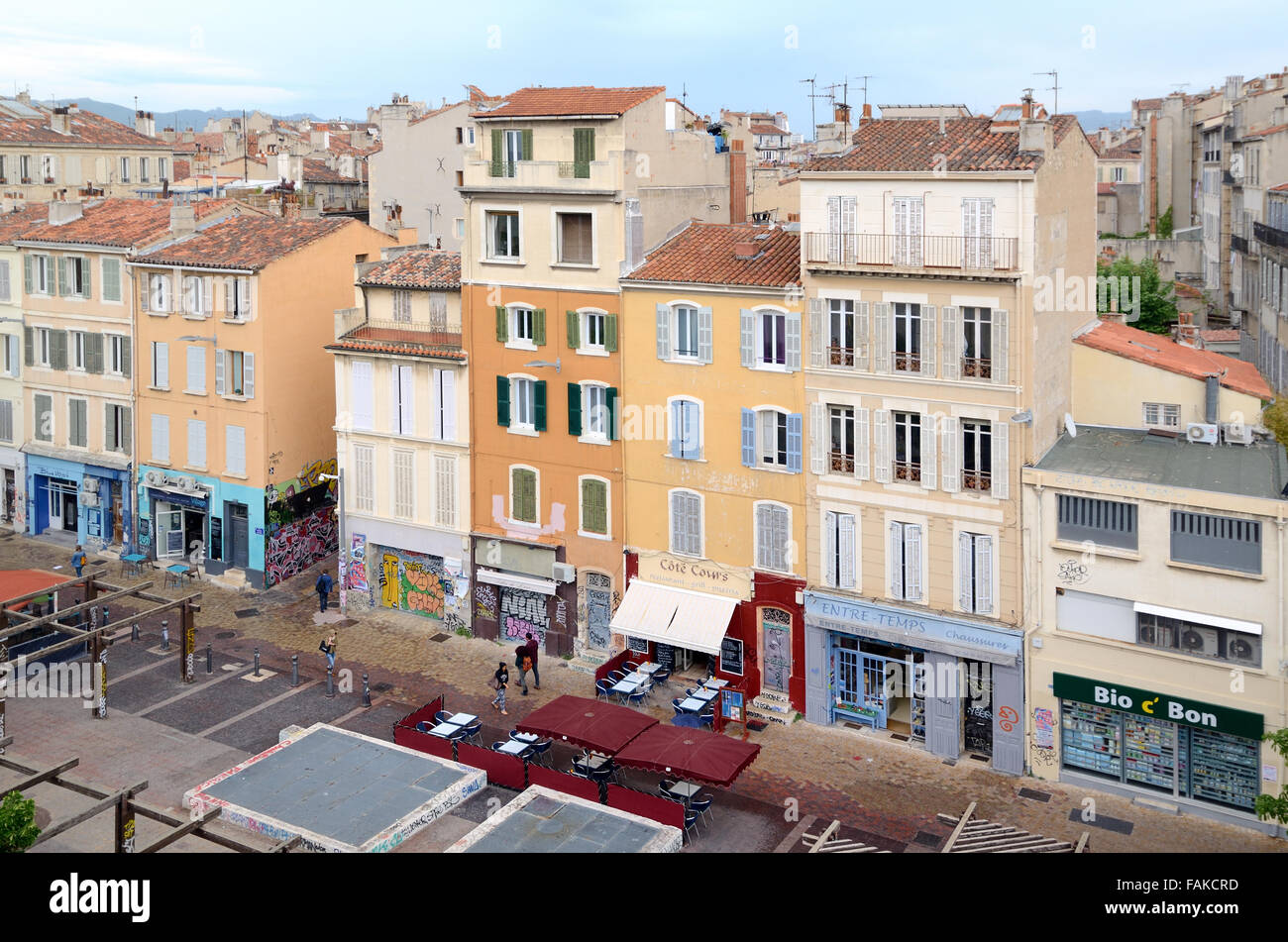 Facades of Shops & Restaurants in the Fashionable Cours Julien District Marseille France - Stock Image