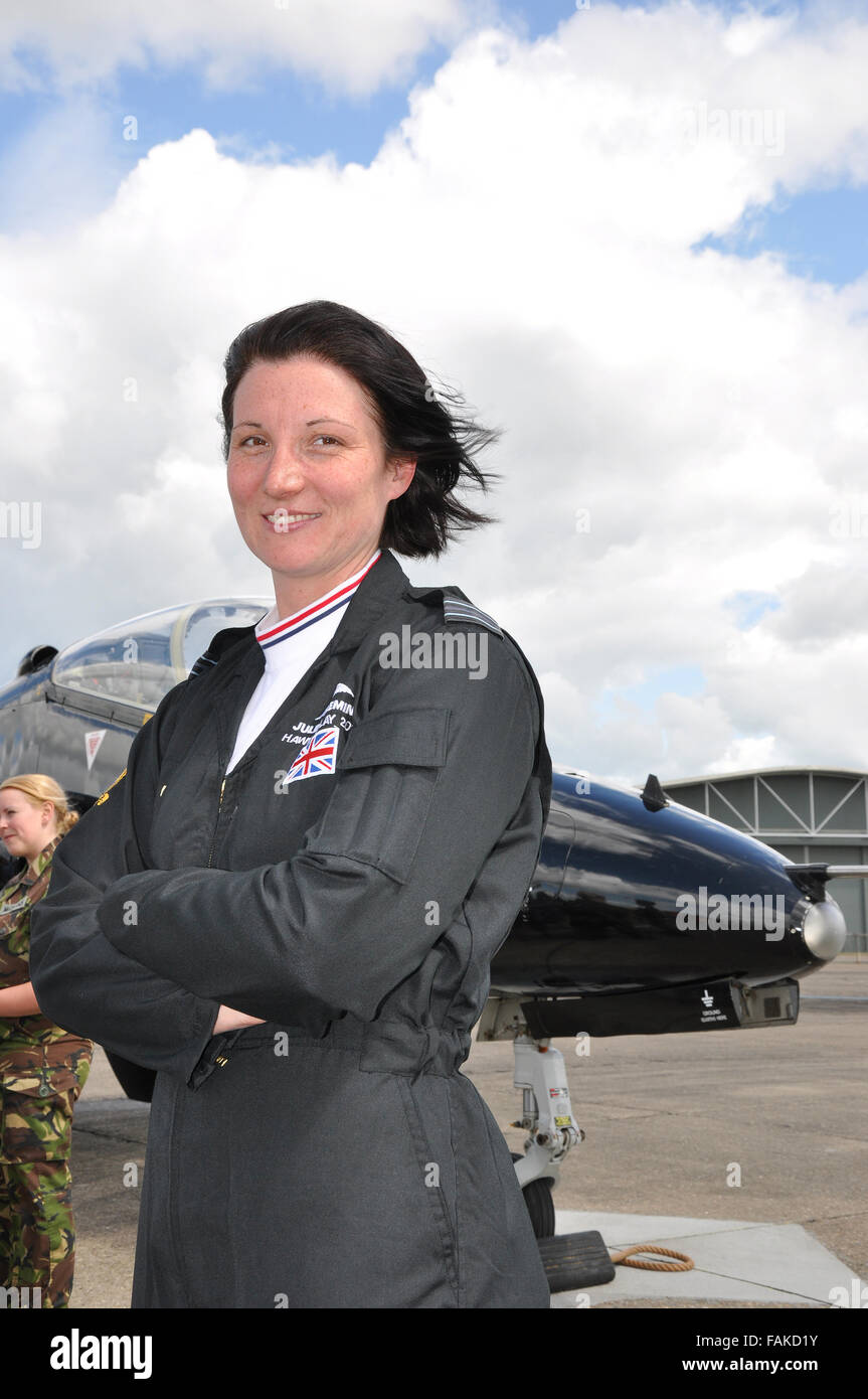 Juliette Fleming (now Thurston) is pictured here when she took on the role as the RAF's Hawk solo display pilot Stock Photo