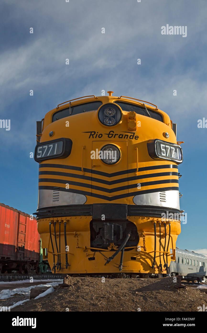 Golden, Colorado - The Denver & Rio Grande Western's locomotive No. 5771 at the Colorado Railroad Museum. - Stock Image