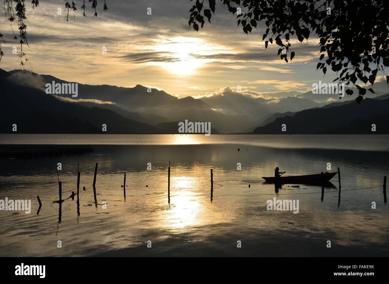 Pokhara lake Nepal - Stock Image