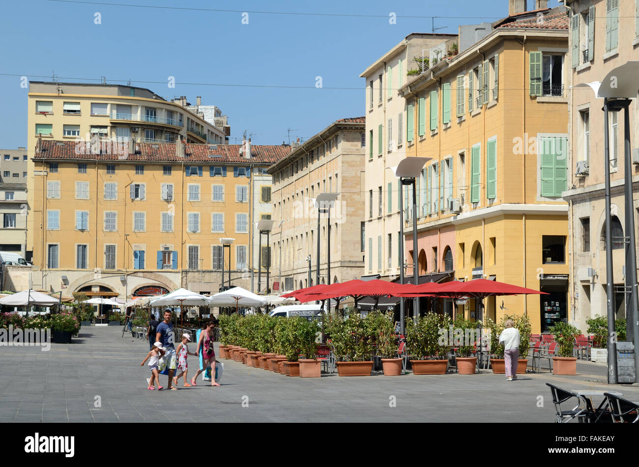 Place or Cours Estienne d'Orves Town Square or Plaza Surrounded by Pavement Cafés and Restaurants Marseille - Stock Image