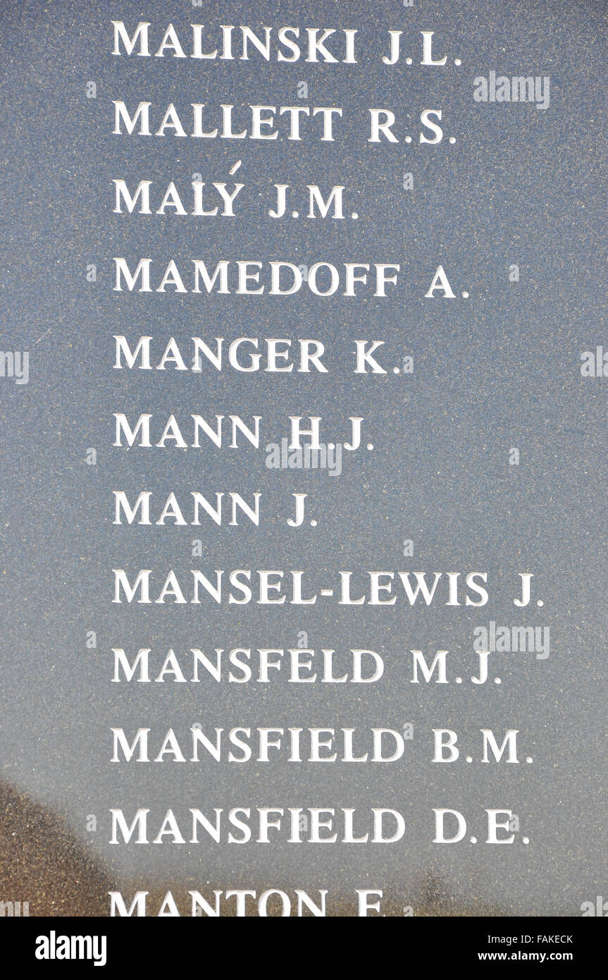 Names on the Memorial Wall at Capel-le-Ferne, on which appears the names of the almost 3000 fighter aircrew who - Stock Image
