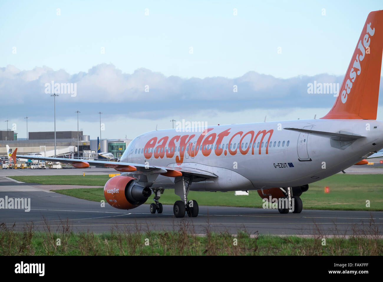 Easyjet Passenger plane getting ready to depart from Manchester Airport - Stock Image